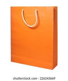 Orange Paper Shopping Bag Isolated on White Background