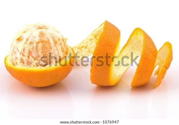 Orange Pealed on white background
