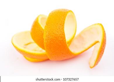 Orange peel against white background