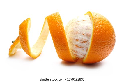 Orange with peel isolated on white background