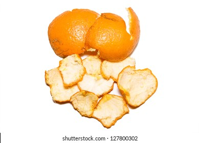 Orange peel on the white background.
