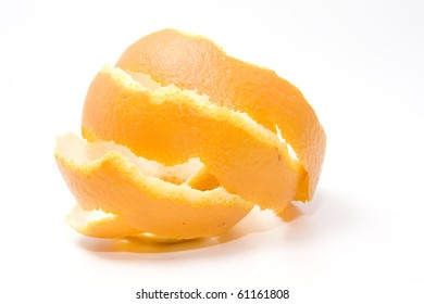 orange peel over white background