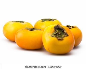 orange persimmons isolated on white background