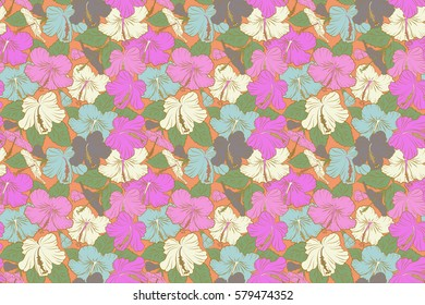 Orange and pink hibiscus flowers in a trendy raster style. Hawaiian tropical natural floral seamless pattern in orange and pink colors.