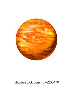 Orange planet - hand drawn watercolor illustration isolated on a white background