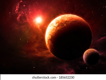 Orange Planet and Moon - Elements of this image furnished by NASA