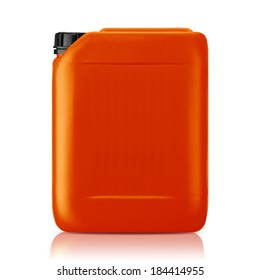 Orange plastic gallon, jerry can  isolated on a white background.  (with clipping work path)