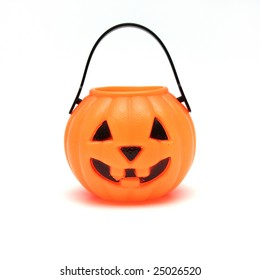 Orange Plastic Jack-O-Lantern on White Background
