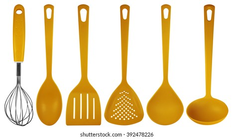 Orange Plastic Kitchen Utensils Isolated On White. Clipping Path Included.