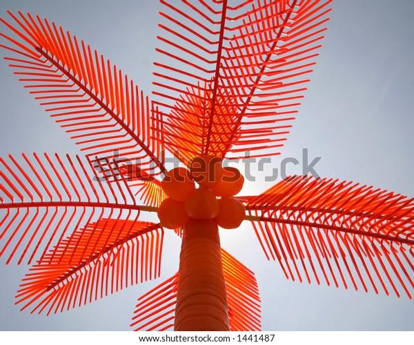 Orange Plastic Palm Tree