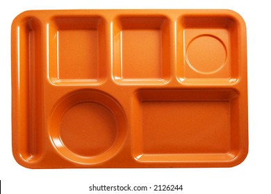 orange plastic school lunch tray on white background