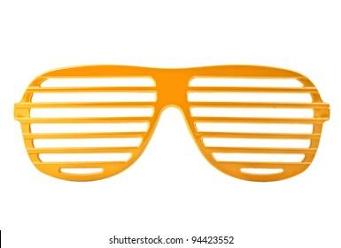 orange plastic shutter shades sunglasses isolated on white background