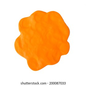 Orange  plasticine texture on white background