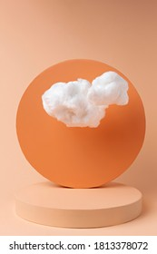 Orange podium with cloud on pastel background. Concept scene stage showcase, for product, promotion, sale, banner, presentation, cosmetic and fashion. Minimal showcase mock up concept. - Shutterstock ID 1813378072