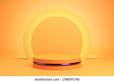Orange podium and minimal abstract background for Halloween, 3d rendering geometric shape, Stage for awards on website in modern.
