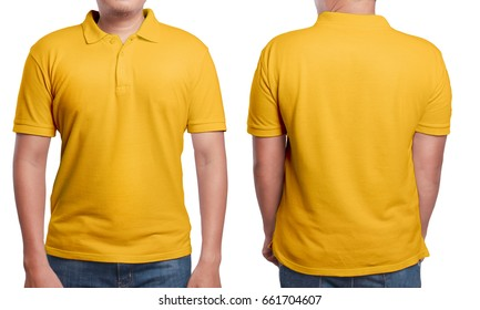 Orange polo t-shirt mock up, front and back view, isolated. Male model wear plain orange shirt mockup. Polo shirt design template. Blank tees for print