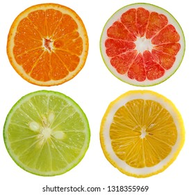 Orange, Pomelo, Lime, Lemon, Group of object isolated on white background
