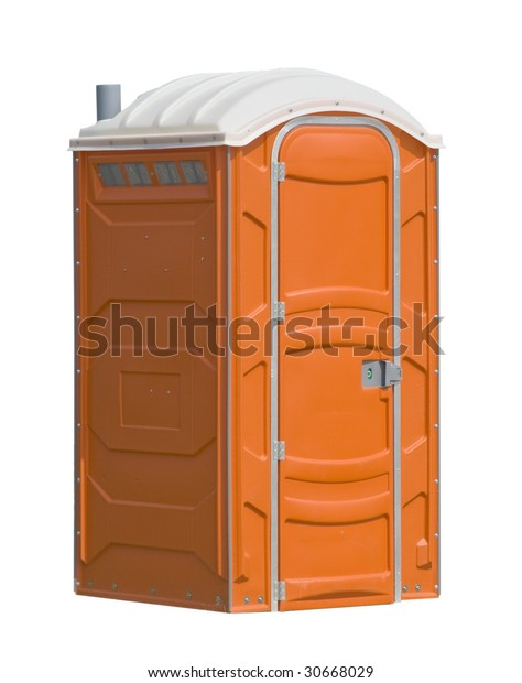 orange portable public toilet, isolated