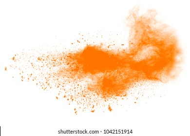 Orange powder particles explosion.   color dust splash for fashion background, luxury wallpaper. Magic mist glowing. Powdered vivid orange on white background.