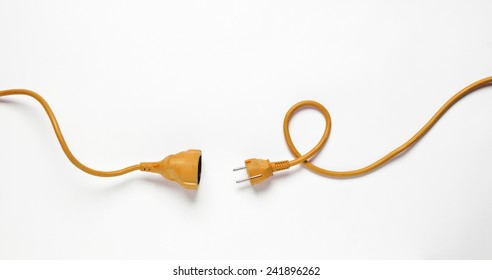 Orange Power Cable isolated on white background