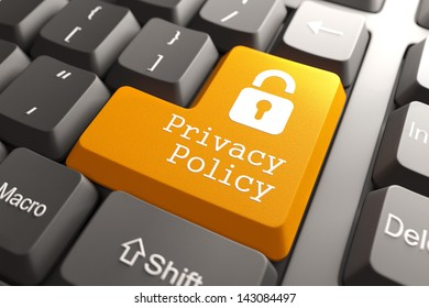 Orange Privacy Policy Button with Padlock Icon on Computer Keyboard. Internet Concept. 3D Render.