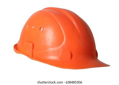 Orange protective helmet isolated on white background