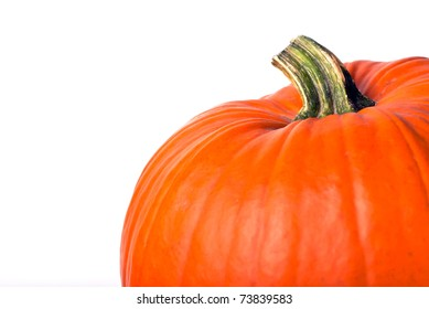 orange pumpkin with copy space on the left
