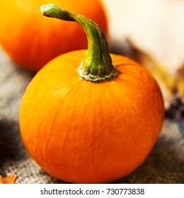 Orange Pumpkins Over Wooden Table Happy Thanksgiving Day Background