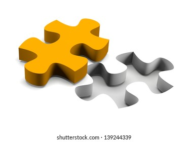 Orange puzzle piece and his missing on white background solution concept
