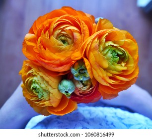 Orange ranunculus bouquet