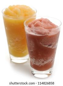 Orange And Raspberry Smoothie Glasses