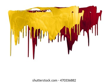 orange and red paints dripping isolated on white background