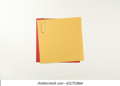 Orange And Red Paper Notes With Paper Clip (with clipping path)