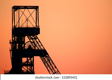 Orange and red sunset of a mining shaft, Secunda, South Africa