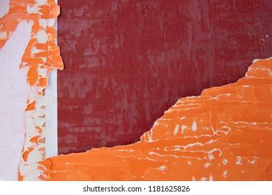 orange red torn poster