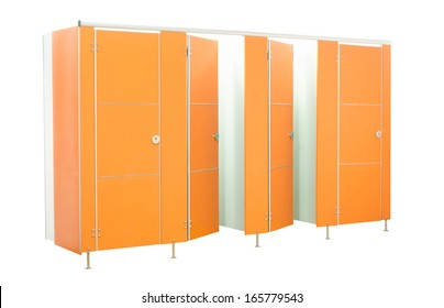 Orange restroom stall doors isolated on white background
