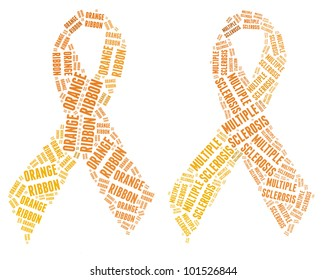 Orange ribbon campaign made from word illustrations isolated on white.