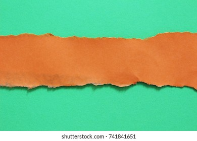 orange ripped paper on green paper background. copy space