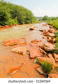orange river water and rocks