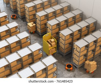 Orange robot carriers carrying goods in modern warehouse.  Modern delivery center concept. 3D rendering image.