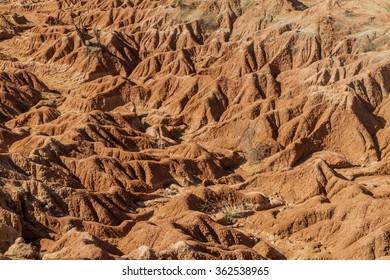Orange rock formations in Tatacoa desert, Colombia