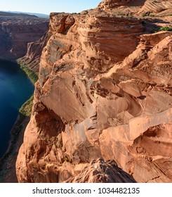 Orange Rock of  Grand Canyon Horseshoe Bend near Page Arizona, USA.