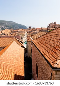 Orange rooftops of Dubrovnik old town, sunny day