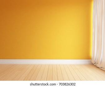 Orange room interior. 3d illustration