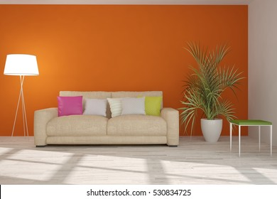 Orange room with sofa. 3D illustration