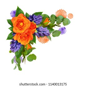 Orange roses and hyacinth flowers with eucalyptus leaves and paint blots in a corner floral arrangement isolated on white background. Flat lay. Top view.
