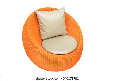 Orange round wicker chairs on white background
