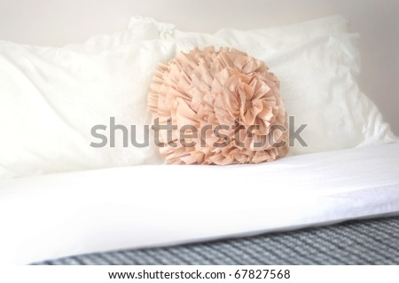 Orange Ruffled Round Decorative Pillow On Stock Photo Edit Now Gorgeous Round Decorative Bed Pillows