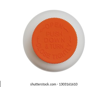 Orange safety cap for white pill bottle isolated on white background. Top view