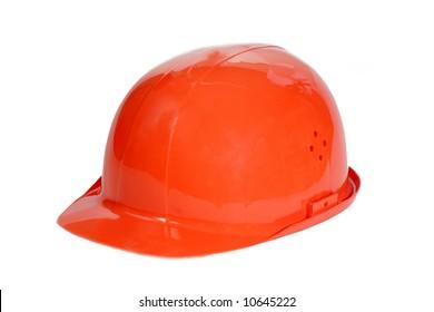 Orange safety hard hat on white.